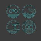 Grupo de ícones redondos no fundo escuro ilustração do vetor