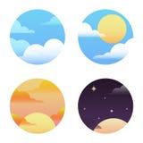 Grupo de ícones redondos no tempo Imagem de Stock Royalty Free