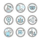 Grupo de ícones residenciais da segurança ilustração do vetor