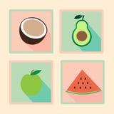 Grupo de ícones retros do projeto liso da aptidão Imagens de Stock Royalty Free