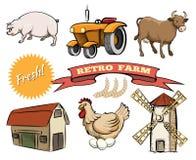 Grupo de ícones retros do vetor da exploração agrícola Fotos de Stock Royalty Free