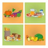 Grupo de ícones saudáveis do alimento Fotografia de Stock