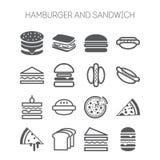 Grupo de ícones simples com Hamburger, sanduíches ilustração stock