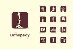 Grupo de ícones simples da ortopedia Fotos de Stock Royalty Free