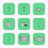 Grupo de ícones simples para a colher dos utensílios Imagem de Stock Royalty Free