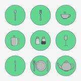 Grupo de ícones simples para a colher dos utensílios Fotos de Stock Royalty Free