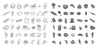 Grupo de ícones sobre o alimento e a bebida fotografia de stock royalty free