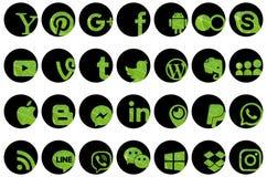 Grupo de ícones sociais dos meios Imagens de Stock Royalty Free
