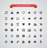 Grupo de ícones sociais dos meios do projeto liso moderno Imagem de Stock