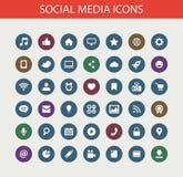 Grupo de ícones sociais dos meios do projeto liso moderno Fotos de Stock