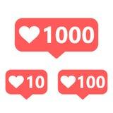 Grupo de ícones sociais dos meios 10, 100 e 1000 gostos Fotografia de Stock Royalty Free