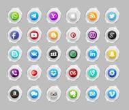 Grupo de ícones sociais populares dos meios ilustração royalty free