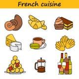 Grupo de ícones tirados dos desenhos animados mão bonito no francês Fotos de Stock Royalty Free