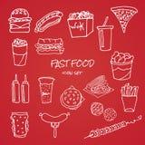 Grupo de ícones tirados mão do fast food no fundo vermelho ilustração do vetor