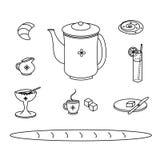 Grupo de ícones tradicionais da garatuja da refeição do café da manhã Fotos de Stock Royalty Free