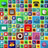 Grupo de ícones universais com sombra longa Projeto liso Foto de Stock Royalty Free