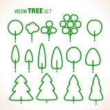 Grupo de ícones verdes das árvores Fotos de Stock Royalty Free