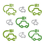 Grupo de ícones verdes desenhados à mão do carro do eco, coleção Fotografia de Stock Royalty Free