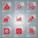 Grupo de ícones vermelhos Fotos de Stock Royalty Free