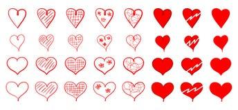 Grupo de ícones vermelhos do coração para o dia do ` s do Valentim de Saint Fotografia de Stock