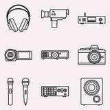 Grupo de ícones visuais e audio Ilustração do vetor Fotos de Stock
