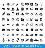 Grupo de 72 ícones universais da Web Imagens de Stock Royalty Free