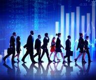 Grupo de ação de executivos dos conceitos do mercado de valores imagem de stock