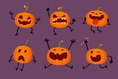Grupo de abóboras de Dia das Bruxas com várias expressões Imagem de Stock Royalty Free