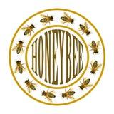 Grupo de abelha ou de abelha no círculo com texto Fotografia de Stock Royalty Free