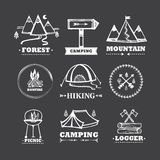Grupo de acampamento dos logotipos Imagens de Stock Royalty Free