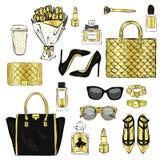 Grupo de acessórios à moda do ` s das mulheres Ilustração do vetor para um cartão ou um cartaz Cópia na roupa Forma & estilo ilustração stock