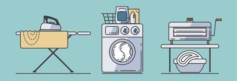 Grupo de acessórios da lavanderia ilustração royalty free