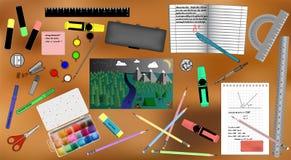 Grupo de acessórios e de pintura da escola ilustração royalty free