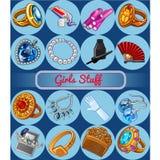 Grupo de acessórios para a moça ou a noiva Esboço para etiquetas do feriado, cartão da celebração ou convite do partido stylish ilustração royalty free