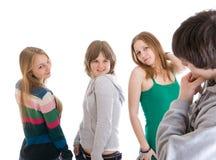 Grupo de adolescentes aislados en un blanco Imágenes de archivo libres de regalías