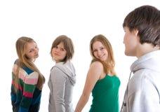 Grupo de adolescentes aislados en un blanco Fotos de archivo libres de regalías