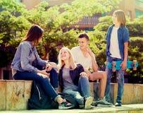 Grupo de adolescentes despreocupados en parque el día soleado Imágenes de archivo libres de regalías