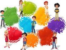 Grupo de adolescentes dos desenhos animados Fotografia de Stock Royalty Free