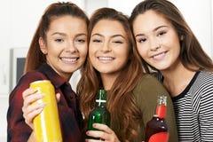Grupo de adolescentes que beben el alcohol en el partido Imagenes de archivo