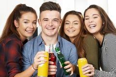 Grupo de adolescentes que beben el alcohol en el partido fotografía de archivo
