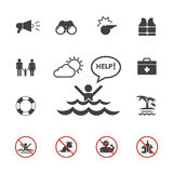 Grupo de advertência do ícone da salva-vidas e da praia ilustração royalty free