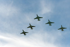Grupo de aeroplanos Sukhoi Fotografía de archivo libre de regalías