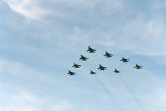 Grupo de aeroplanos Sukhoi Foto de archivo