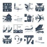 Grupo de aeroporto dos ícones e de avião pretos, terminal, pista de decolagem ilustração stock