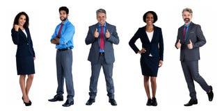 Grupo de 5 africanos e caucasianos e homem de negócios latino-americano e mulher de negócios fotografia de stock royalty free