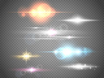 Grupo de alargamentos isolados Efeitos da luz do fulgor para sua arte finala Imagens de Stock
