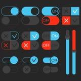 Grupo de alavanca do interruptor, tema escuro E fora de slideres azuis Molde para o app e o Web site imagens de stock