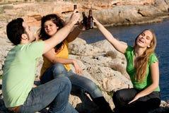 Grupo de alcohol de consumición de la juventud Fotografía de archivo libre de regalías
