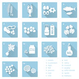 Grupo de alergens típicos do alimento para restaurantes e os ícones azuis lisos eps10 da refeição Foto de Stock