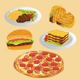 Grupo de alimento delicioso Imagens de Stock Royalty Free